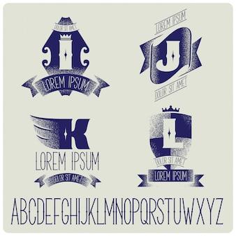 Modelos de crachás vintage com conjunto de alfabeto