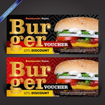 Modelos de cupons de desconto burger