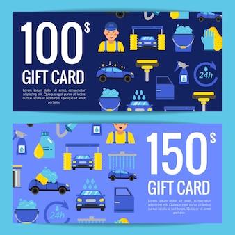 Modelos de desconto ou cartão de vale-presente com ícones lisos de lavagem de carro