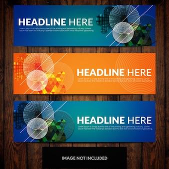 Modelos de design abstrato banner corporativo com fundos azuis e laranja