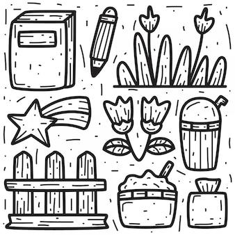 Modelos de design abstrato doodle dos desenhos animados kawaii