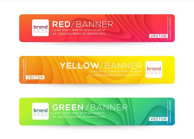 Modelos de design abstrato web banner ou cabeçalho. composição de gradiente de onda curvada com cores vivas coloridas.