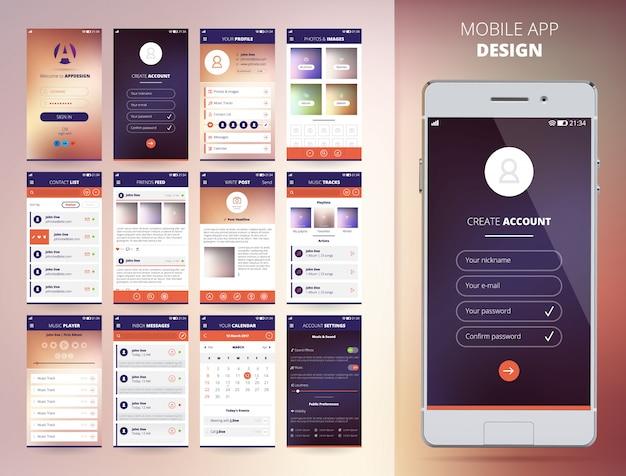 Modelos de design de aplicativo de smartphone definir ilustração vetorial isolados plana