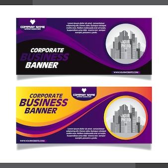 Modelos de design de banner abstrato roxo e preto