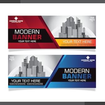Modelos de design de banner abstrato vermelho e azul