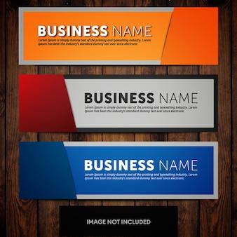 Modelos de design de banner corporativo com fundos laranja azul e cinza
