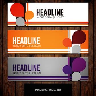 Modelos de design de banner corporativo com linhas e formas personalizadas