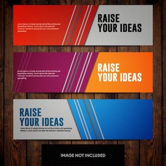 Modelos de design de banner corporativo com linhas e origens multicoloridas