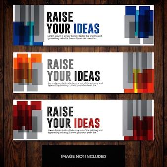 Modelos de design de banner corporativo com retângulos multicoloridos no fundo branco