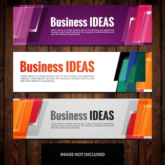 Modelos de design de banner corporativo com retângulos multicoloridos