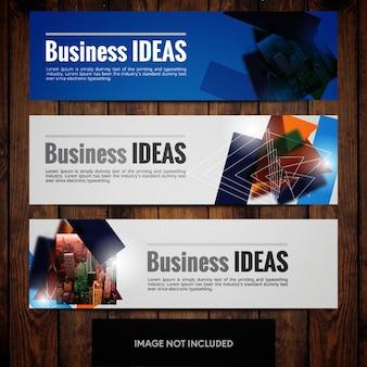 Modelos de design de banner de negócios azuis e cinza com triângulos e linhas de cidade multicoloridas