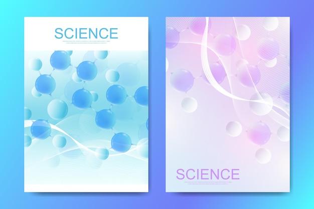 Modelos de design de banners, cartazes ou brochuras com moléculas 3d abstratas coloridas. atoms. neurônios. bandeira de tecnologia farmacêutica de inovação médica. ilustração vetorial.