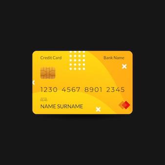 Modelos de design de cartão de crédito com motivos de cor e onda amarelos