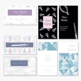 Modelos de design de cartão de visita de salão de manicure conjunto de cartões para salões de manicure e salões de beleza.