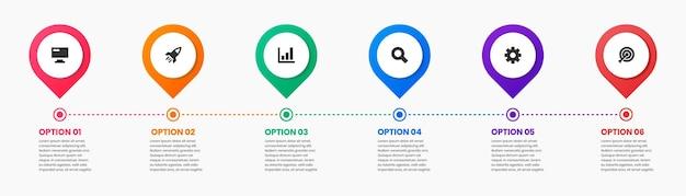 Modelos de design de elemento de infográfico com ícones e 6 opções