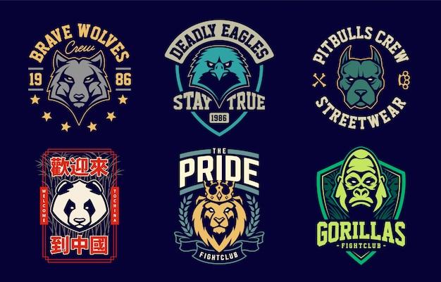Modelos de design de emblema com mascotes de animais diferentes. projetos de emblemas de equipe de esporte. conjunto de vetores.