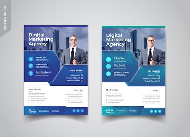 Modelos de design de folheto de agência de marketing digital