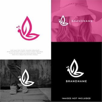 Modelos de design de logotipo de borboleta