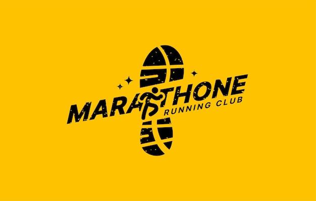 Modelos de design de logotipo de clube esportivo de maratona conceito de logotipo de torneio e maratonas