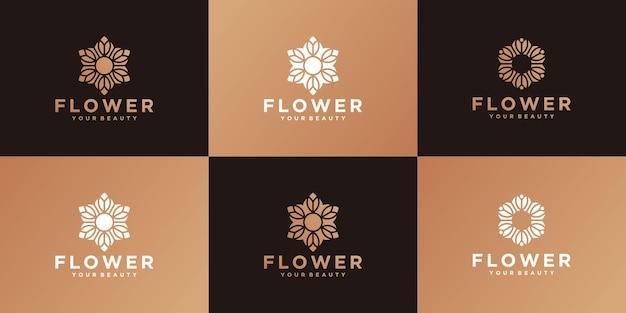 Modelos de design de logotipo de flor de luxo em cor dourada