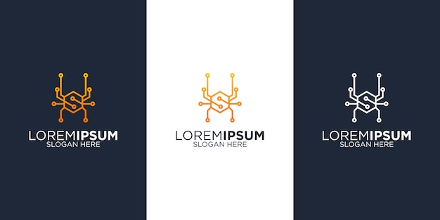 Modelos de design de logotipo de tecnologia de aranha