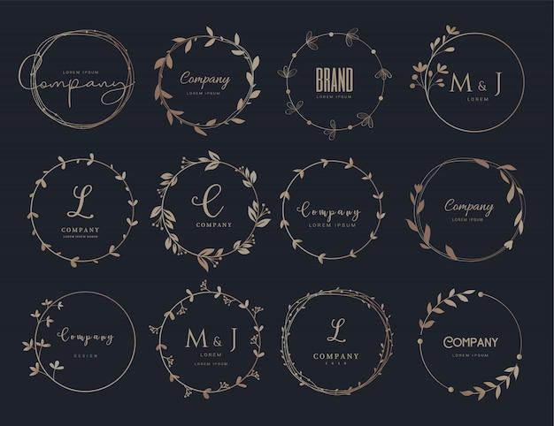 Modelos de design de logotipo e borda floral de vetor mão estilo desenhado.