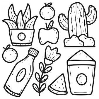 Modelos de design de mão desenhada doodle abstrato