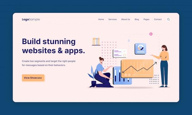 Modelos de design de página da web para compras online, marketing digital, trabalho em equipe, estratégia de negócios e análises. conceitos de ilustração vetorial moderna para desenvolvimento de sites e sites móveis.