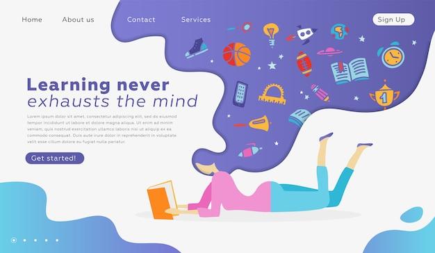 Modelos de design de página da web para educação, aprendizado, retorno à escola. conceito moderno da ilustração do vetor para o desenvolvimento do web site e do web site móvel. menina deitada lendo um livro. material escolar em pensamentos