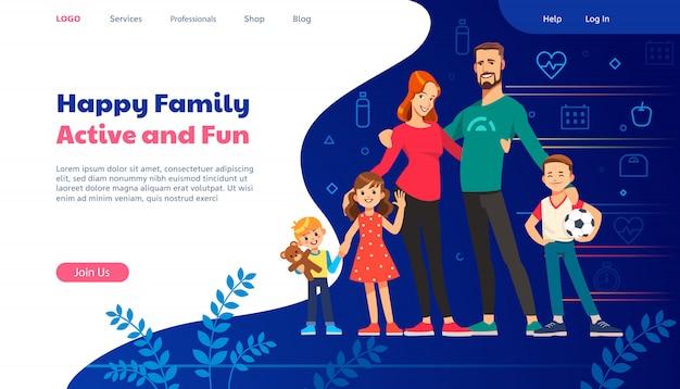 Modelos de design de página da web para planejamento familiar, seguro de viagem, natureza e vida saudável.