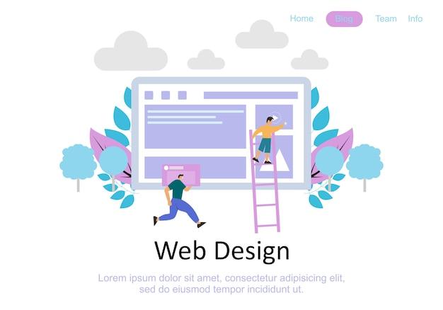 Modelos de design de página da web para trabalho em equipe