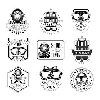 Modelos de design de sinal preto e branco de clube de aventura subaquática de mergulho com texto e ferramentas silhuetas
