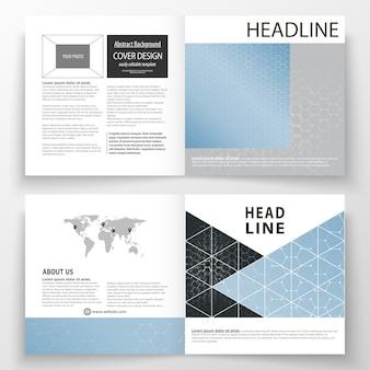 Modelos de design quadrado bi dobram folheto, revista, folheto. folheto capa, fácil layout vetoriais editáveis.