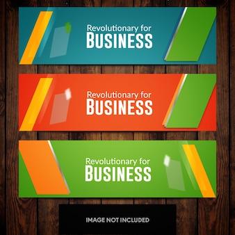 Modelos de design verde azul e laranja de design de banner com retângulos
