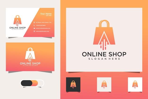 Modelos de designs de logotipos de loja online e cartões de visita