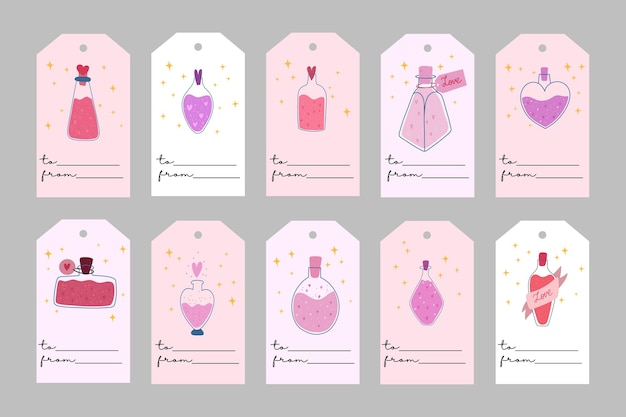 Modelos de dia dos namorados. rótulos romatic com feitiço de amor. todas as tags são isoladas. mão ilustrações desenhadas.