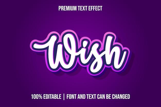 Modelos de efeitos de texto 3d editáveis wish