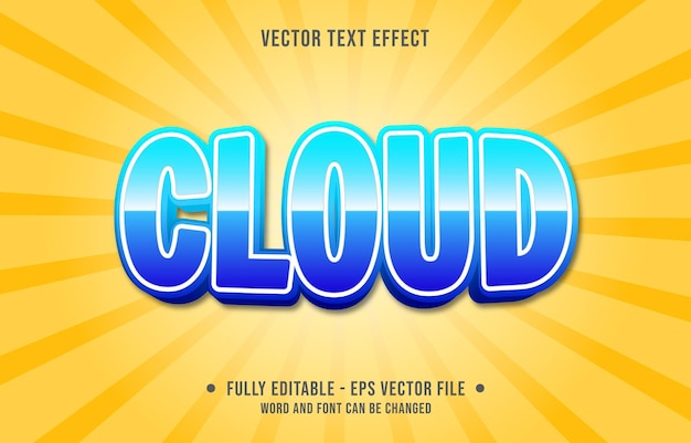 Modelos de efeitos de texto editáveis, cor azul nuvem estilo moderno