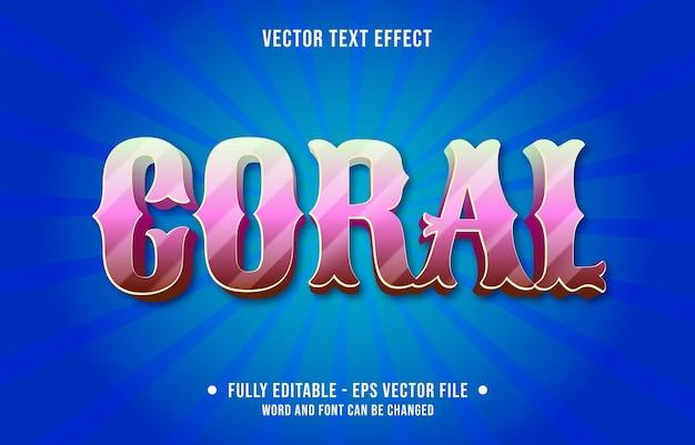 Modelos de efeitos de texto editáveis, cor gradiente rosa coral estilo moderno