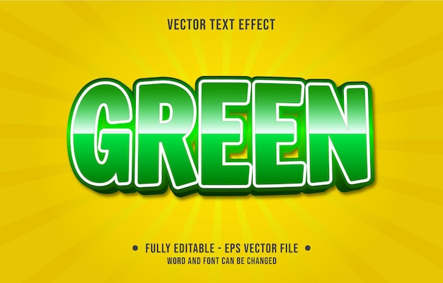 Modelos de efeitos de texto editáveis, cor gradiente verde estilo moderno