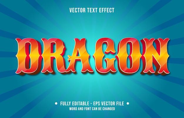 Modelos de efeitos de texto editáveis: dragão laranja cor gradiente estilo moderno