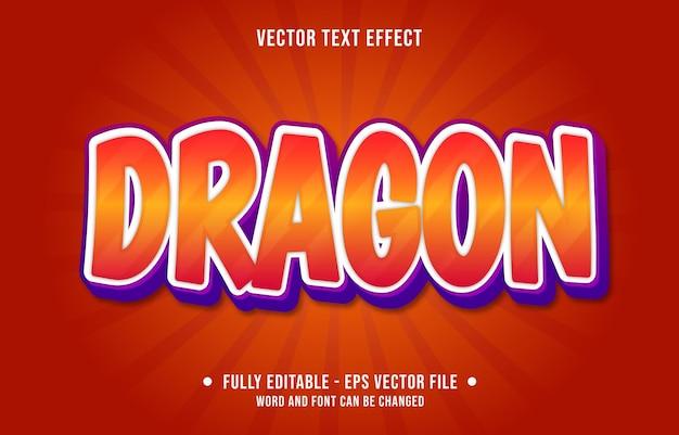Modelos de efeitos de texto editáveis dragão vermelho laranja gradiente cor estilo moderno