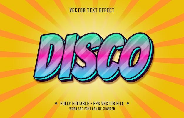 Modelos de efeitos de texto editáveis estilo disco azul rosa gradiente cor moderno