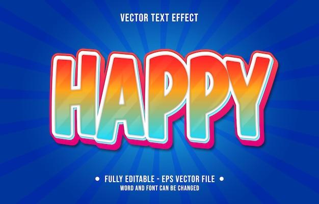 Modelos de efeitos de texto editáveis, feliz, azul, vermelho, gradiente, cor, estilo moderno