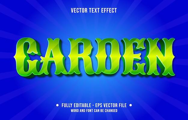 Modelos de efeitos de texto editáveis, jardim verde gradiente cor estilo moderno