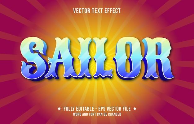 Modelos de efeitos de texto editáveis, marinheiro mar azul gradiente cor estilo moderno