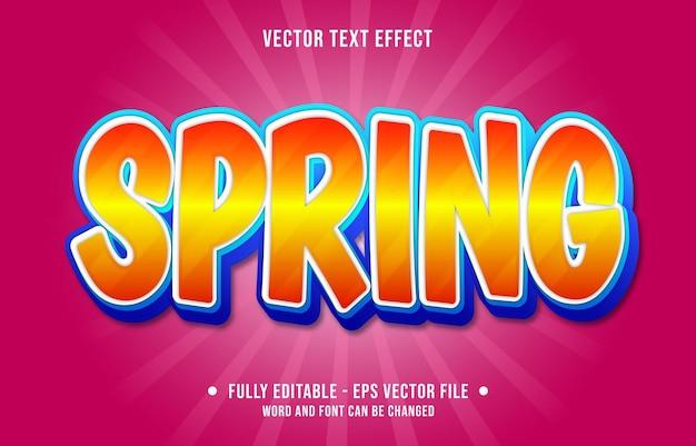Modelos de efeitos de texto editáveis primavera laranja azul gradiente cor estilo moderno