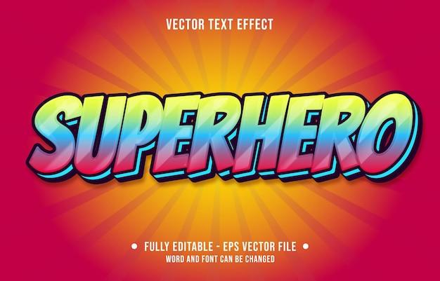 Modelos de efeitos de texto editáveis super-herói vermelho amarelo cor gradiente estilo moderno