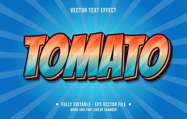 Modelos de efeitos de texto editáveis tomate vermelho azul gradiente cor estilo moderno