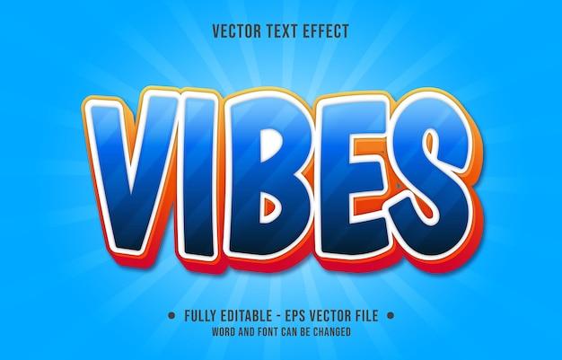 Modelos de efeitos de texto editáveis vibrações azul gradiente cor estilo moderno